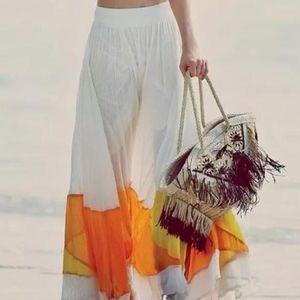Free People Gauze Colorblock Maxi Long Skirt Sz S